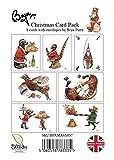 10 x, caccia, caccia, pesca e il cane biglietti natalizi a tema cartone animato Bryn Parry. buste incluse.