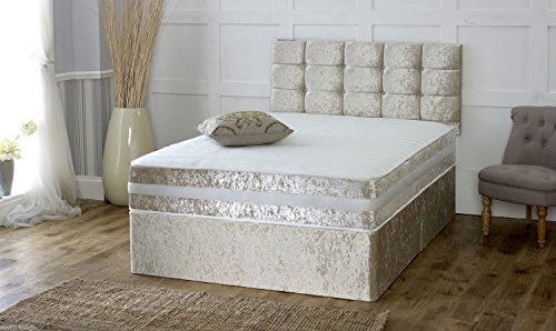 4ft6 double divan sleepkings bed base in italian crushed for Double divan bed base with headboard