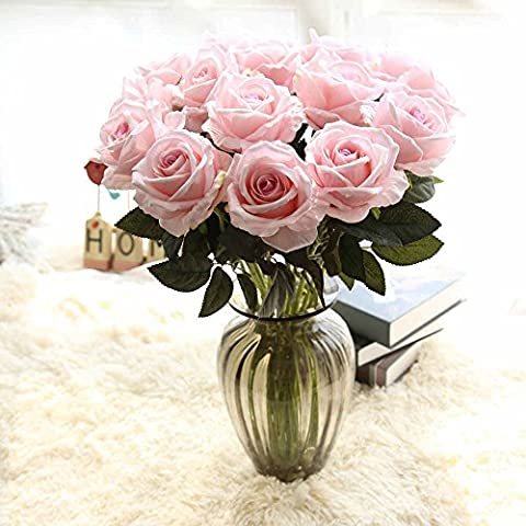 Artificial Flowers,Fake Flowers Bouquet Silk Roses Real Touch Bridal Wedding Bouquet for Home Garden Party Floral Decor 12Pcs(Pink)