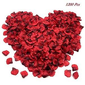 FUJIE 1200 Pcs Pétalos de Rosa Petalos Artificiales Confeti de Rosas Artificiales de Seda Roja para Bodas, Fiestas, día…