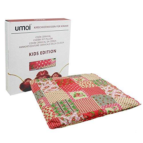 Öko Kinder Kirschkernkissen quadratisch 24x24cm groß mit ca. 400 Gramm Kirschkernen und Bezug aus 100% Baumwolle (Bunte Flecken)