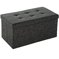 Preisvergleich für EFACONCEPT Faltbare Sitzbank XL 38 x 76 x 38 cm HxTxB stabiler Sitzcube mit praktischer Fußablage als Sitzwürfel aus Leinen als Aufbewahrungsbox mit Stauraum und Deckel zum Abnehmen für Wohnraum, grau (Dunkelgrau)