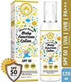 #4: Mom & World Mineral Based Baby Sunscreen Lotion, SPF 50 PA+++, 120ml - UVA/UVB Protection, Water Resistance