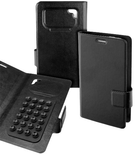 Teuthida Book Style Case Tasche für Yota YotaPhone 2 Handy Smartphone Etui Hülle black Size XL