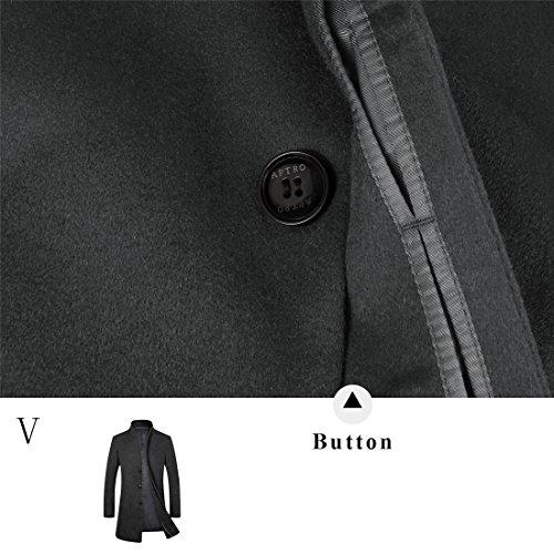 APTRO Grande Promotion Manteau en Solde Printemps Manteau d'affaires et Casual Slim en 100% Pure Laine à Une Rangée de Bouton Homme 1681 Noir