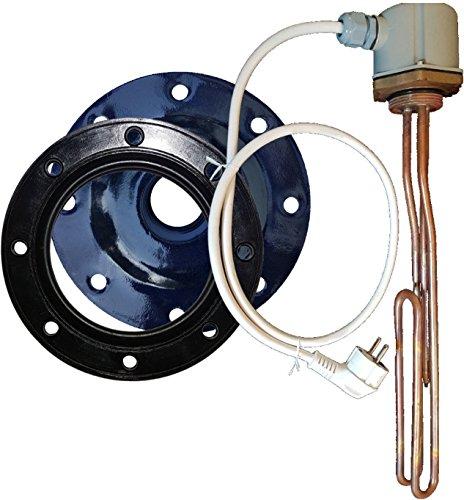 3 kW 230V Elektroheizstabset (bis 500 Liter) - 3kW Heizelement mit Kabel und eingebautem Thermoregler, Flanschdeckel und Dichtung