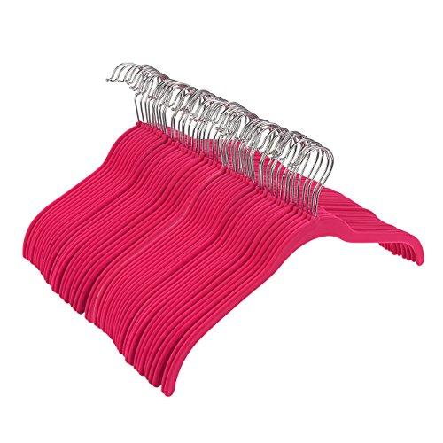 juvale Ultra Slim HOT PINK Samt Kleiderbügel–Kleider, Hemden, Hosen–50Zählen