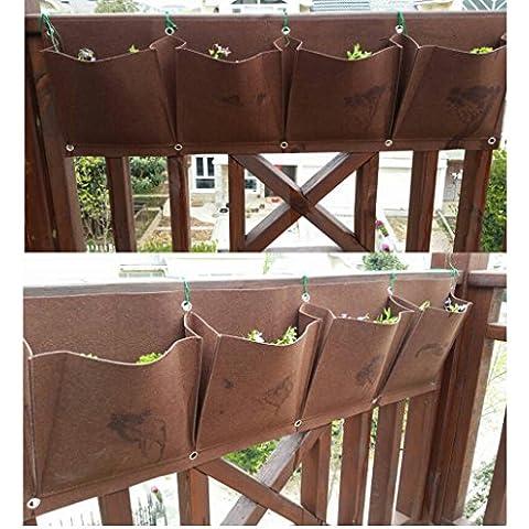 ms 4-Pocket Horizontal Flores vege Plantar Bolsas de cultivo Macetero Decor to378de pared