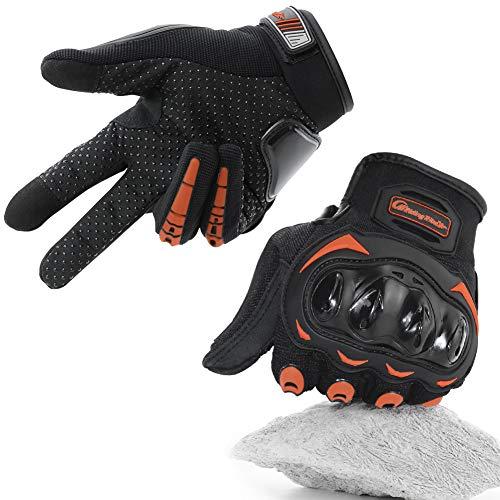 COFIT Motorrad Handschuhe, Touchscreen Motorradhandschuhe für Motorradrennen, Mountainbike, Motorcross, Klettern, Wandern und andere Outdoor-Sportarten und Aktivitäten - Orange XL