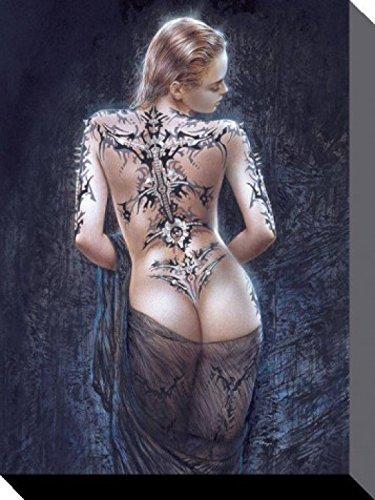 1art1® Luis Royo - La Flor del Dolor, Tatuaje Cuadro, Lienzo Montado Sobre Bastidor (80 x 60cm)
