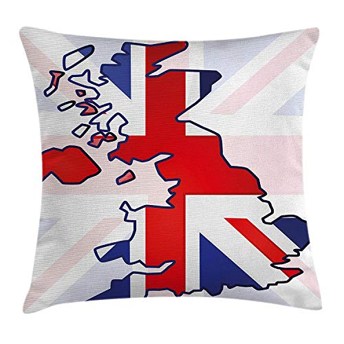 ZMYGH Union Jack Throw Pillow Cushion Cover, Faded United Kingdom Flag and  Country Map Composition Nations Symbols, Decorative Square Accent Pillow