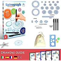 MC CHENMEI® Juego de Spirograph Deluxe con Espirógrafo Juego de Libros para Colorear y Lápiz