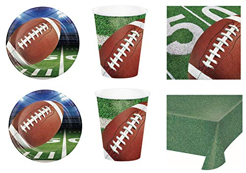 Party Store Web by casa süße Rugby Sport Coordinato ADDOBBI TAVOLA Festa Football Americano- Kit Nr. 5 CDC-(40 Platten, 40 Gläser, 48 TOVAGLIOLI , 1 TOVAGLIA) Americana-platte