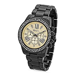 Black Plated Chronograph Style Geneva CZ Bezel Watch w/Gold/Black Dial