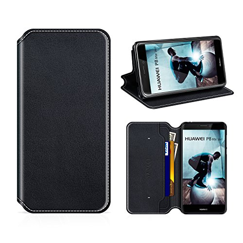 Swingga Huawei P8 Lite 2017 Hülle, Handyhülle Premium Leder Tasche Flip Case Schutzhülle für Huawei P8 Lite 2017,Schwarz