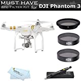 3pc Filter Kit For DJI Phantom 3 Pro, Advanced, Quadcopter 4K UHD Video Camera Drone This Must Have Accessories Bundle Includes CPL + ND4 + ND8 + Filters + Case + Lens Cleaning Pen