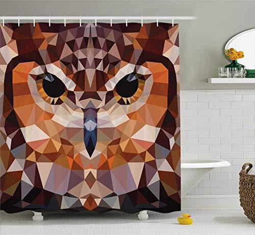 LongTrade Geometric Decor Shower Curtain Duschvorhang Set, Mosaic Owl Head in Linked Triangle Forms Retro Style Funky Geometric Art Boho Decor, Bathroom Accessories, Brown Orange 48x72 inch - 48 Triangle Form