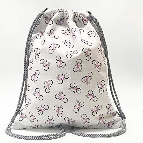 Mochilas-Mochila chica-Casual mujer/Diseño exclusivo deMisNubes/Mochila blanca bicis vintage/Regalos-Regalos originales-Regalos para mujer