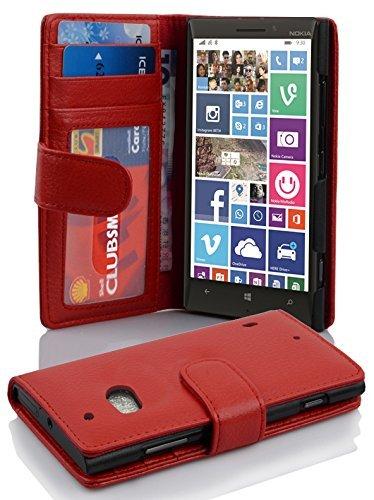 Cadorabo–Book Style Custodia per Nokia Lumia 930/929–Custodia CASE COVER CON 3tasche per carte di credito in Inferno di rosso