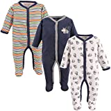 """Luvable Friends Baby Boys' """"Tough Guy"""" 3-Pack Coveralls - navy/multi, 6 - 9"""