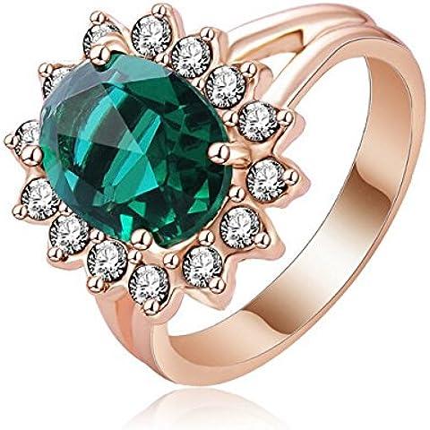 Nusey (TM) della moda di New 2015 principessa Elegent Smeraldo Anelli oro rosa 18 carati placcato con AAA Cubic Zirconia Cocktail Rings Bijoux Ri-HQ1042-A