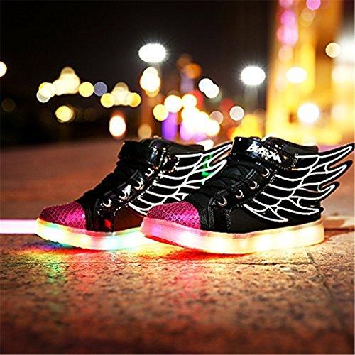 DoGeek 7 Farbe USB Aufladen LED Schuhe Kinder Leuchtend Sportschuhe Led Sneaker Turnschuhe Black