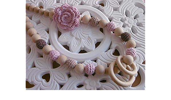 Tragetuchkette//Stillkette mit Blume und Holzringen