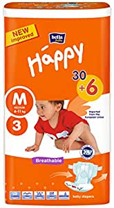 Bella Baby Happy Baby Diapers, Medium A30+6 Free