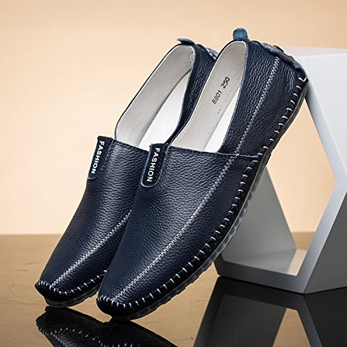AFFINEST Herren Leder Slipper Loafer fahren Schuhe Casual Boot Schuhe Blau