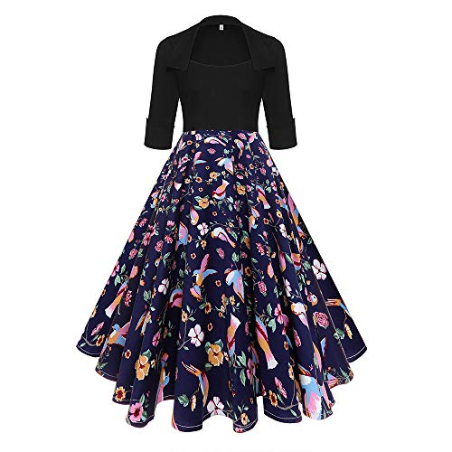 Floral Pleated Skirt (Qmber 1950s Vintage Retro Cocktail Dress Rockabilly V-Neck Pleated Skirt Elegant 50s Petticoat Misses Gepunkte Rockabilly Dresses Cocktail Dresses)