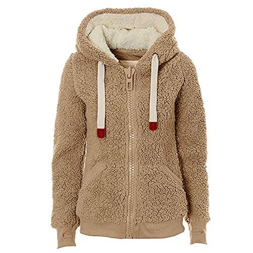 URSING Damen Hoodie Herbst Winter Kapuzenpullover Weich Teddy Kapuzenjacke Hooded Jumper Hoody Pullover Jacket Coat mit Tasche Plüschjacke...