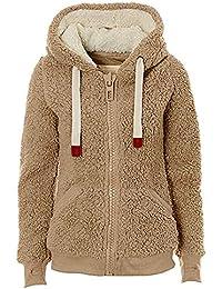 FNKDOR Ladies Womens Soft Teddy Fleece Hooded Jumper Hoody Zip Weaf Coat Jacket Coat