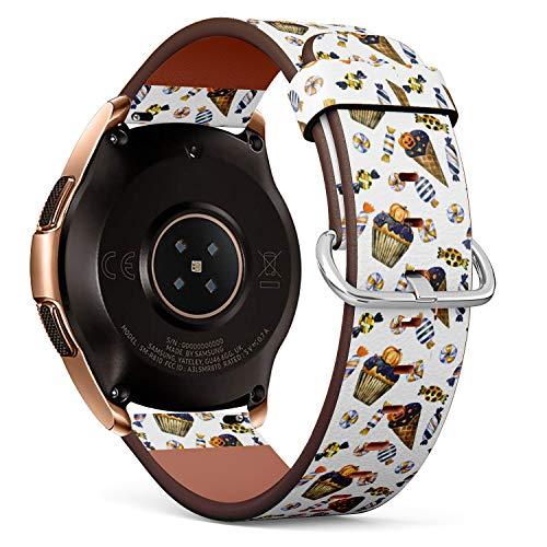 R-Rong kompatibel Watch Armband, Echtes Leder Uhrenarmband f¨¹r Samsung Galaxy Watch 42MM - Halloween Pattern with Cupcake, Ice Cream and Candy