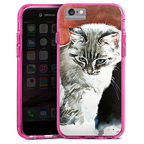 Apple iPhone 7 Bumper Hülle Bumper Case Glitzer Hülle Cat Katze Kitty Bumper Case transparent pink