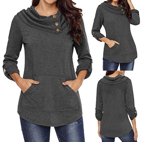 MIRRAY Fashion Womens Casual Long Sleeve Kangaroo Pocket Cowl Neck Blouse Pullover Sweatshirt Tops