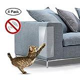 Umiwe Pet Scratch Couch Schutz (4PCS), Anti-Kratzen Möbel Hund Katze Klaue Kratzschutz Klar Vinyl Aufkleber Mit Selbstklebenden Pads für Polster Sofa Tür Wände Matratze Autositz 18.5 x 5.91in