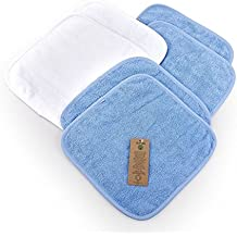 6 x débarbouillettes (30 x 30 cm) pour bébé 100% coton certifié biologique et certifié GOTS, 4 x Bleu, 2 x Blanc
