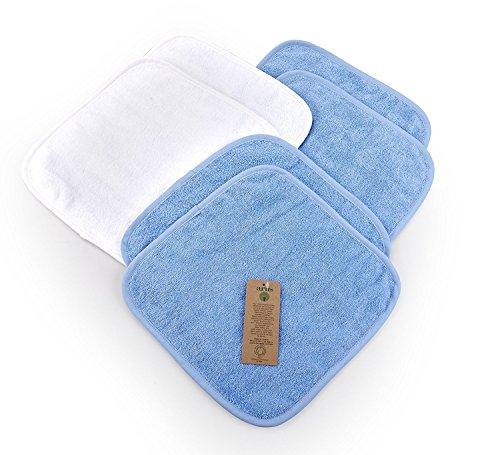 Arus 6 Baby-Waschlappen, 2 in Weiß, 4 in Blau, 30X30 cm