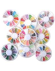 Mode Galerie 9Pcs Fruits Fleur Mélange Fimo Clay Roues Nail Art Conseils Slice Ongles Sticker Décoration