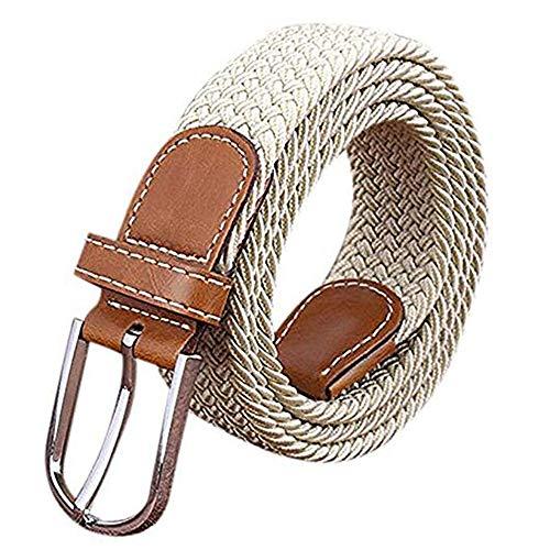 Jeracol Damen Herren Elastischer Geflochtener Gürtel Stretch Stoffgürtel Leder Metallschnalle(100-105cm,Khaki)