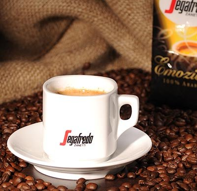 Segafredo Kaffeetasse Latte Macchiatto Cappuccinotasse mit Untertasse