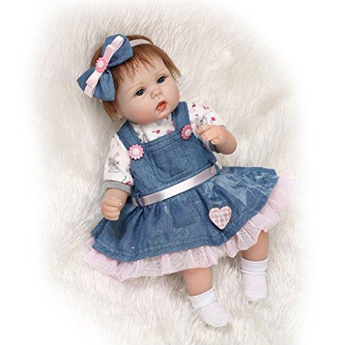 Nicery Reborn Baby-Puppe aus weichem Silikon-Vinyl, 42-45 cm, magnetischer Mund, lebensechtes Spielzeug, offene Augen, mit Outfit für Thanksgiving / Weihnachten