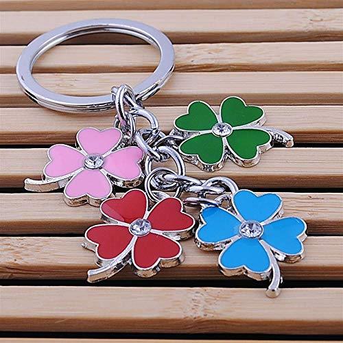 TUDUDU Edelstahl Clover Keychain Mode Vier Leaf Clover Schlüsselkette Key Ring Holder Bag Pendant Charms -