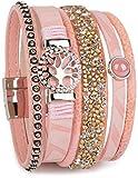 styleBREAKER Armband mit Lebensbaum Amulett, Perle, Strasssteine, Glaskristalle, Magnetverschluss, Damen 05040042, Farbe:Apricot