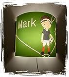 Lampe Kinder Wandlampe Schlummerlampe Nachtlicht mit Schalter personalisiert mit Namen Fußball Fußballspieler