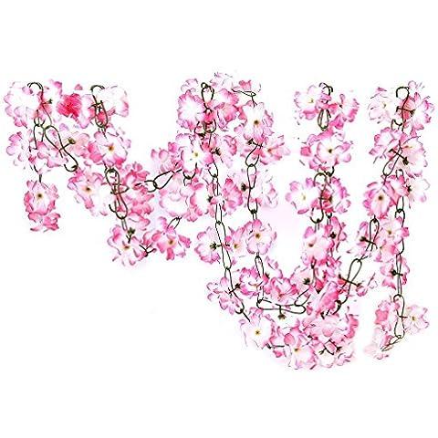 EQLEF® 2 pcs artificial azalea Garland vid de la flor de la boda decoración de jardín - blanco y rosa