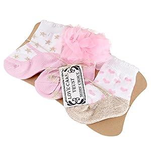 Sanlutoz Calcetines para recién nacidos Calcetines para bebés Conjunto de regalo 3 pares 12