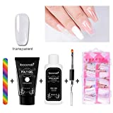 Kit Nail Art, Quick Building Poly Gel Nail Conseils Finger Extension Builder, Poly Gel à Ongles Double Tête Brosse à Ongles Liquide Modèle Tips Lime à Ongles