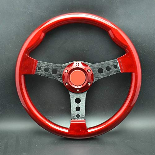 Wotefusi 340Mm Voiture Sport Racing Volant Plat Abs Alloy W/Corne Bouton Rouge
