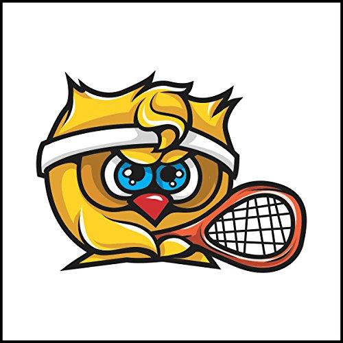 Fliesenaufkleber Fliesentattoos für Bad & Küche - Küchenfliesen für weiße einzelne Fließen empfohlen 10x10 cm - Sport Maskottchen Logos - Gelbe Eule Tennis Maskottchen (Maskottchen Eule)